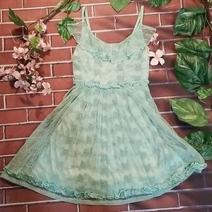 Mint green lace mini skirt sundress, sz small
